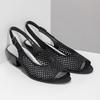 Kožené sandály s kamínky šíře H gabor, černá, 663-6019 - 26
