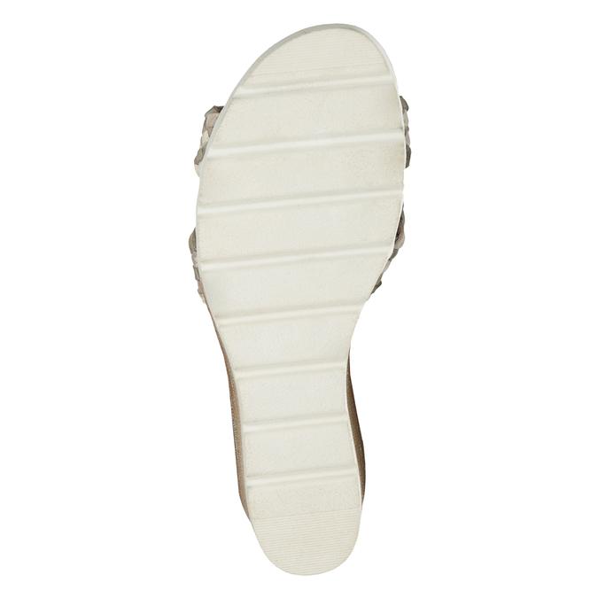Kožené pletené sandály na klínku béžové bata, vícebarevné, 666-1622 - 19