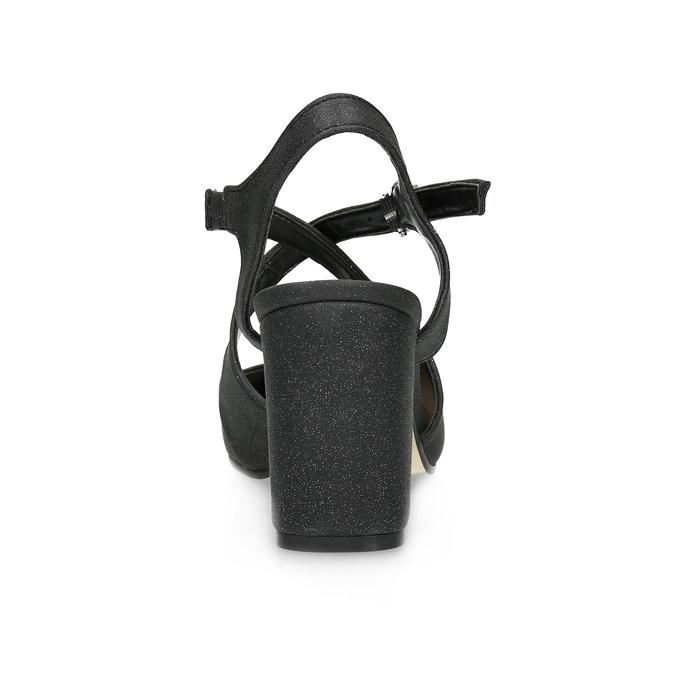 Černé dámské sandály na podpatky se třpytkami insolia, černá, 726-6653 - 15