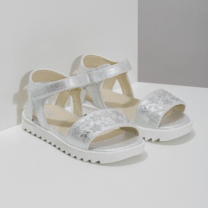 Stříbrné dívčí sandály s hvězdičkami mini-b, stříbrná, 261-1211 - 26