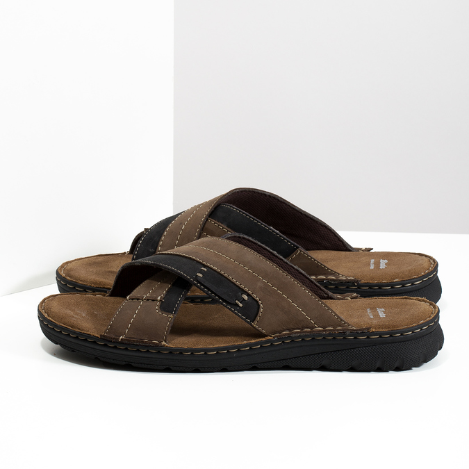 Kožené pánské letní nazouváky bata, hnědá, 866-4612 - 16