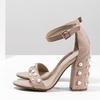 Dámské sandály na podpatku s perlami insolia, růžová, 769-5623 - 16