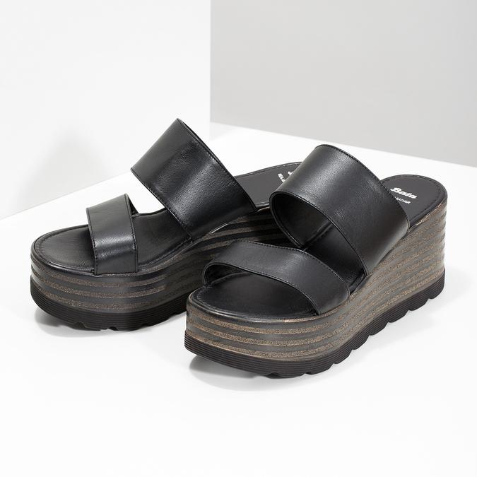 Kožené nazouváky na flatformě bata, černá, 766-6613 - 16