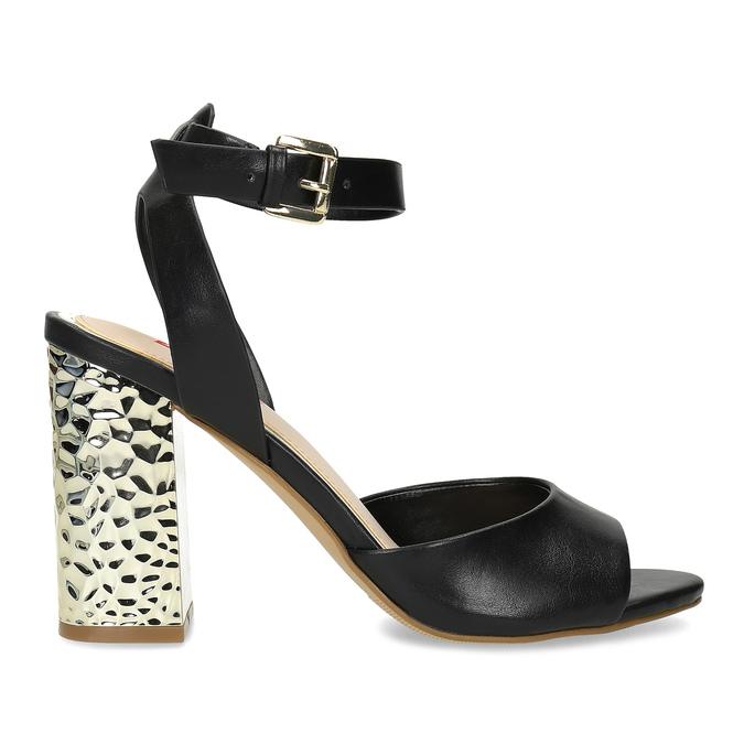 Černé sandály na zlatém podpatku bata-red-label, černá, 761-6619 - 19
