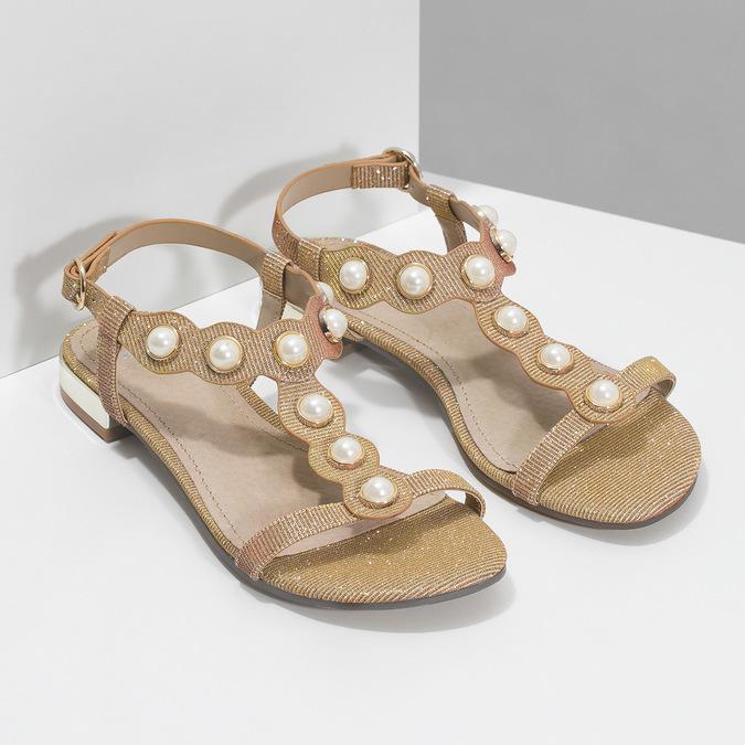 Zlaté sandály s perličkami bata, zlatá, 569-5606 - 26
