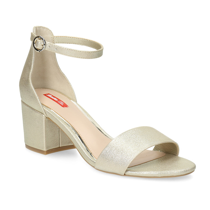 Zlaté dámské sandály na podpatku bata-red-label, zlatá, 661-8609 - 13