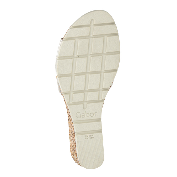 Kožené stříbrné sandály na klínku gabor, stříbrná, 766-5015 - 17