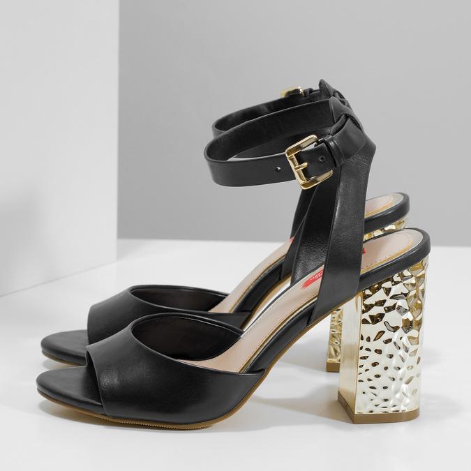 Černé sandály na zlatém podpatku bata-red-label, černá, 761-6619 - 16