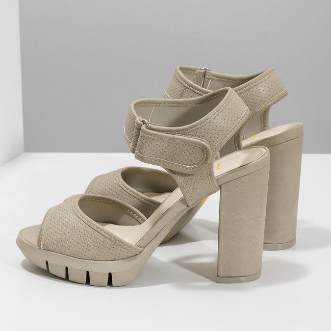 Sandály na masivním podpatku flexible, béžová, 761-2616 - 16