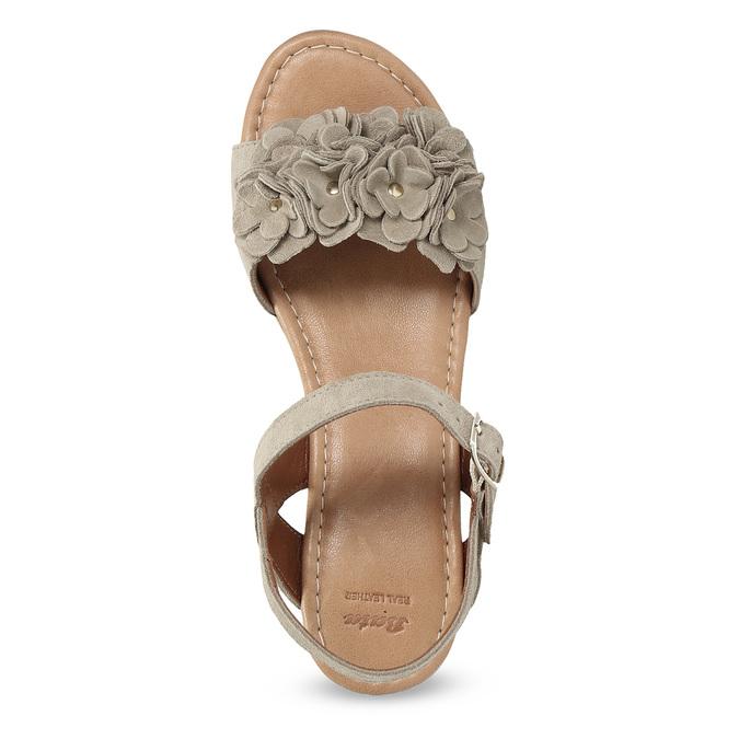 Kožené dámské sandály na flatformě bata, béžová, 763-3601 - 17