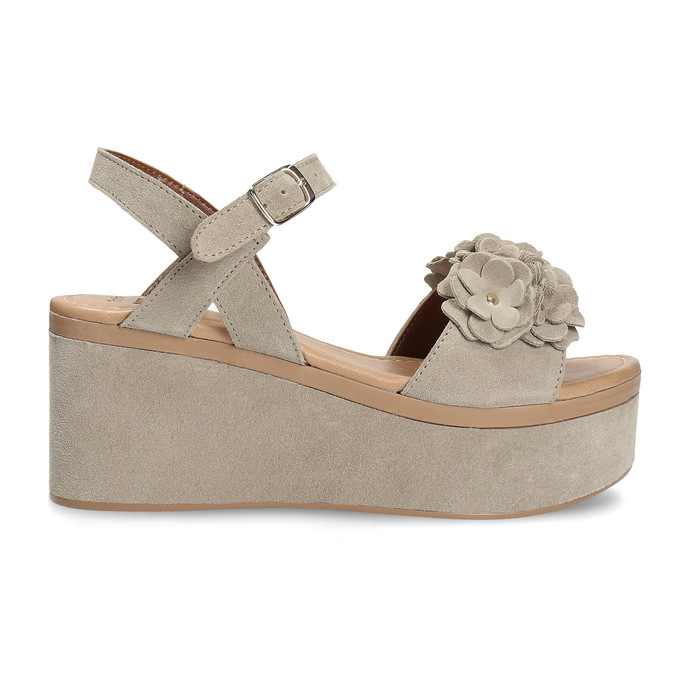 Kožené dámské sandály na flatformě bata, béžová, 763-3601 - 19