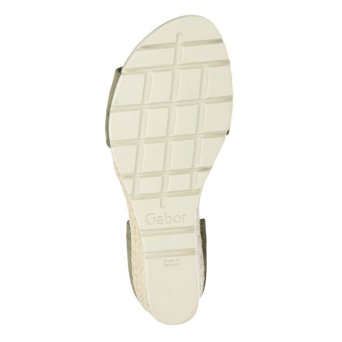 Khaki kožené sandály na klínovém podpatku gabor, khaki, 766-7379 - 17
