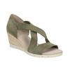 Khaki kožené sandály na klínovém podpatku gabor, khaki, 766-7379 - 13