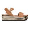 Kožené sandály na pruhované flatformě bata, hnědá, 666-4633 - 19