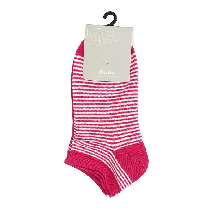 Dámské kotníkové ponožky pruhované červené bata, červená, 919-5816 - 13
