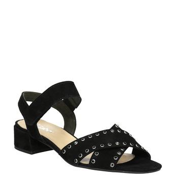 Kožené sandály na nízkém podpatku s kamínky gabor, černá, 663-6005 - 13
