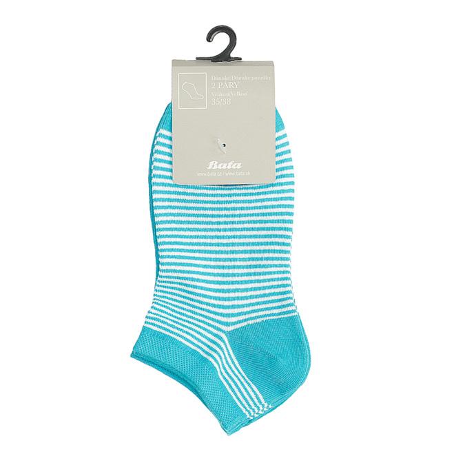 Dámské kotníkové ponožky pruhované modré bata, tyrkysová, modrá, 919-9816 - 13