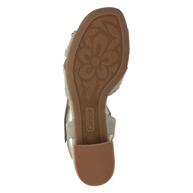 kožené sandály na nízkém podpatku s kamínky gabor, béžová, 663-8005 - 17