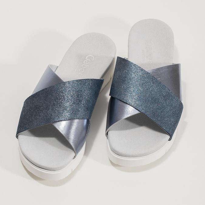 Dámské kožené nazouváky na flatformě modré gabor, modrá, 666-9008 - 16