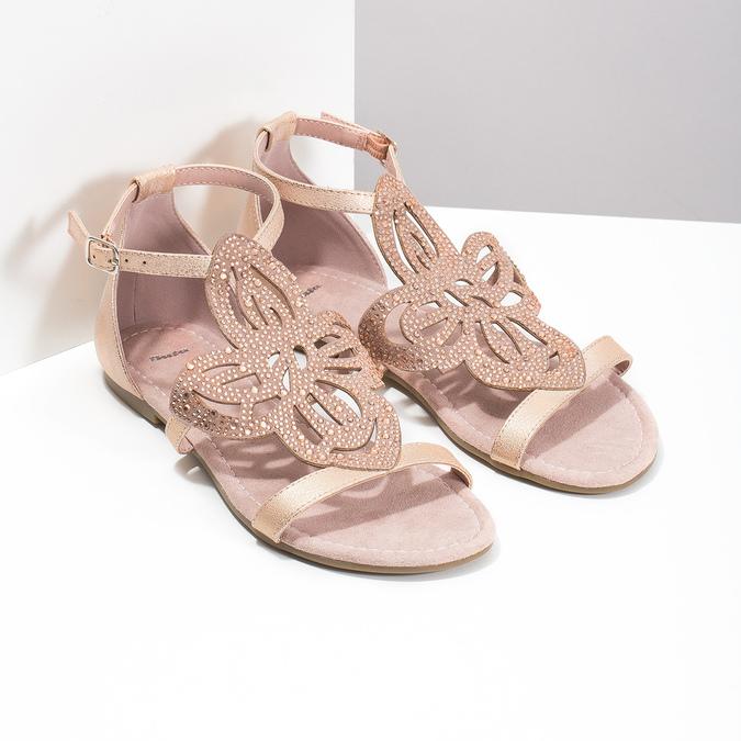 Starorůžové dámské sandály s kamínky bata, růžová, 561-5614 - 26