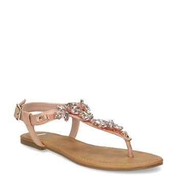 Dámské sandály s kamínky bata, růžová, 561-5612 - 13