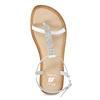 Kožené dívčí sandálky s kamínky mini-b, bílá, 364-1126 - 17