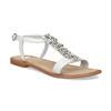 Kožené dívčí sandály s kamínky na nártu mini-b, bílá, 364-1128 - 13