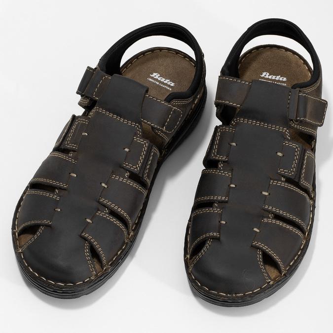 Kožené sandály se zavřenou špičkou bata, hnědá, 866-4616 - 16