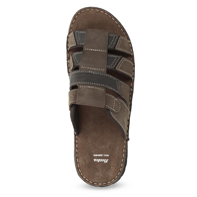Pánské hnědé kožené nazouváky bata, hnědá, 876-4600 - 17