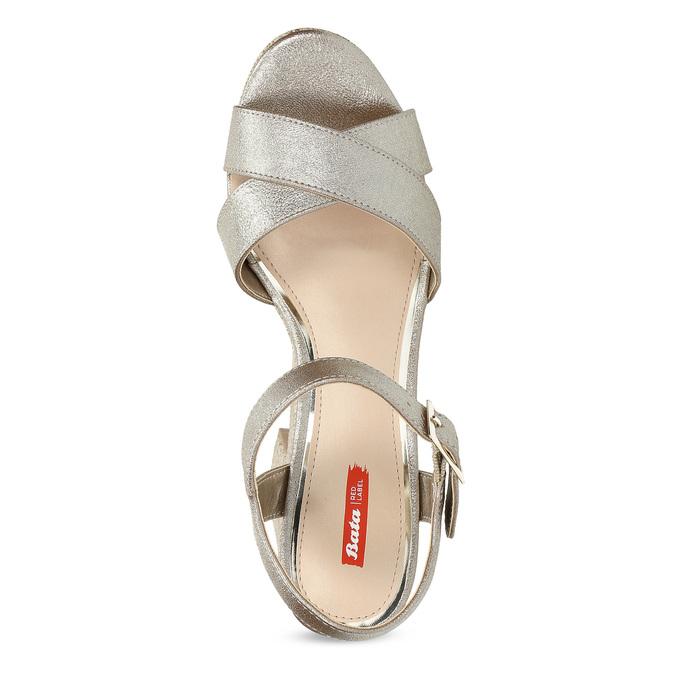Dámské zlaté sandály na masivním podpatku bata-red-label, zlatá, 666-8621 - 17