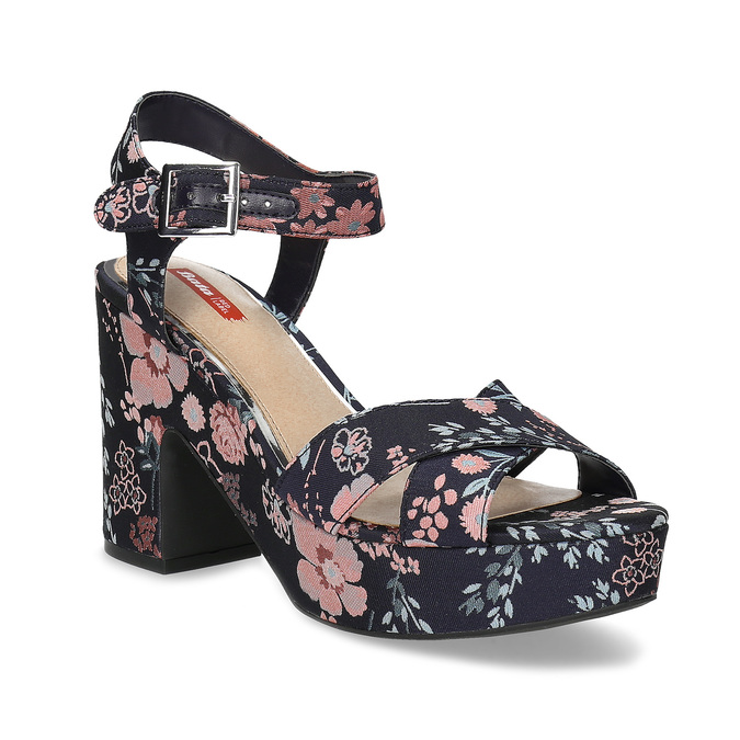 Dámské květinové sandály na masivním podpatku bata-red-label, modrá, 666-5621 - 13