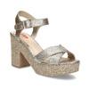Dámské zlaté sandály na masivním podpatku bata-red-label, zlatá, 666-8621 - 13