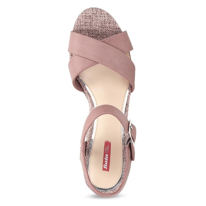Růžové dámské sandály na širokém podpatku bata-red-label, růžová, 666-9621 - 17