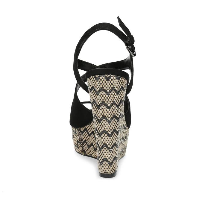 Dámské sandály na klínku se vzorem černé insolia, černá, 769-6622 - 15