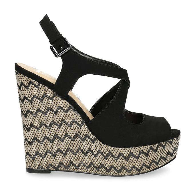 Dámské sandály na klínku se vzorem černé insolia, černá, 769-6622 - 19