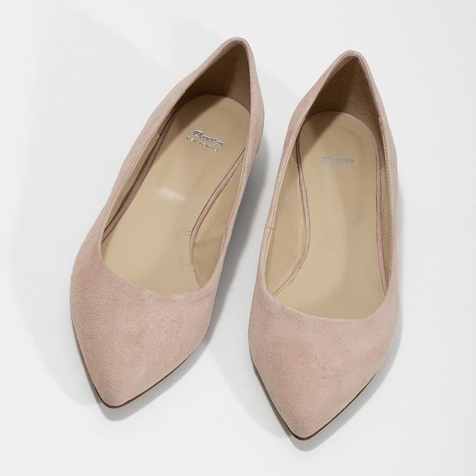 Baleríny do špičky z broušené kůže bata, růžová, 523-5242 - 16