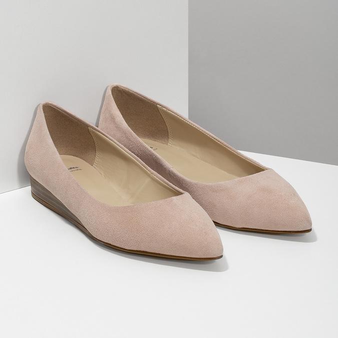 Baleríny do špičky z broušené kůže bata, růžová, 523-5242 - 26