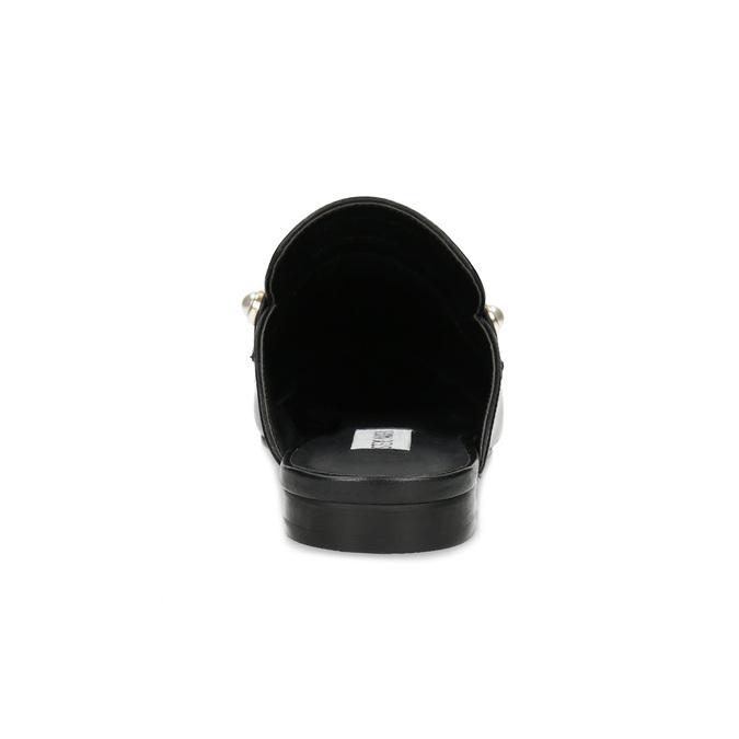 Kožené mokasíny s volnou patou a perličkami steve-madden, černá, 514-6072 - 15