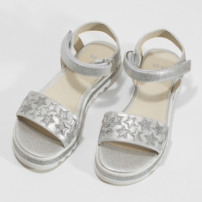 Stříbrné dívčí sandály s hvězdičkami mini-b, stříbrná, 361-1172 - 16