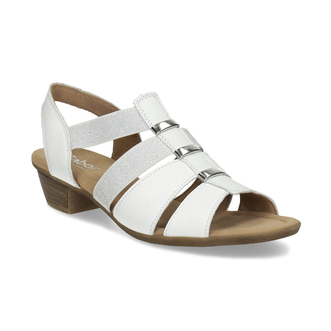 Bílé kožené sandály šíře G gabor, bílá, 666-1338 - 13