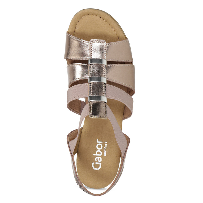 Kožené dámské sandály na nízkém podpatku gabor, růžová, 666-8338 - 17