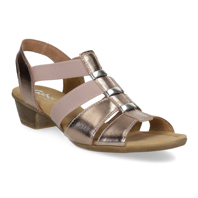 Kožené dámské sandály na nízkém podpatku gabor, růžová, 666-8338 - 13