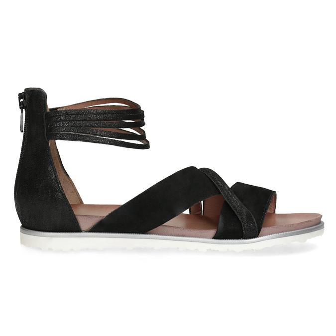 Kožené sandály s pásky kolem kotníku bata, černá, 566-6646 - 19