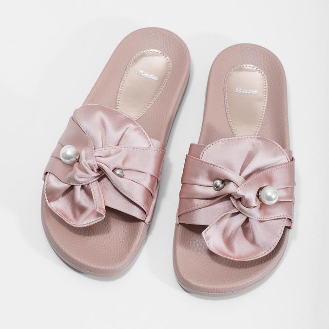 Růžové saténové nazouváky s perličkami bata, růžová, 569-5615 - 16