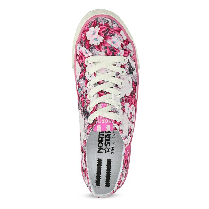 Růžové tenisky s květinovým vzorem north-star, růžová, 589-5460 - 17