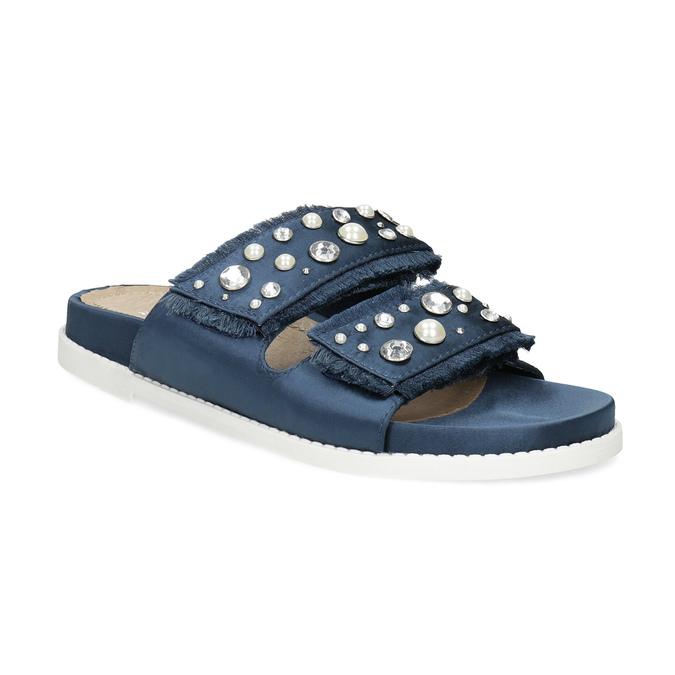 Modré nazouváky s kamínky a perličkami bata, modrá, 569-9618 - 13