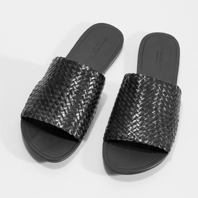 Kožené nazouváky s pleteným vzorem vagabond, černá, 564-6023 - 16