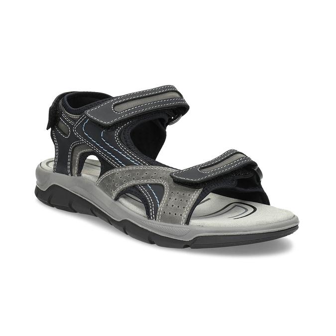 Pánské kožené sandály na suché zipy weinbrenner, šedá, 866-2642 - 13