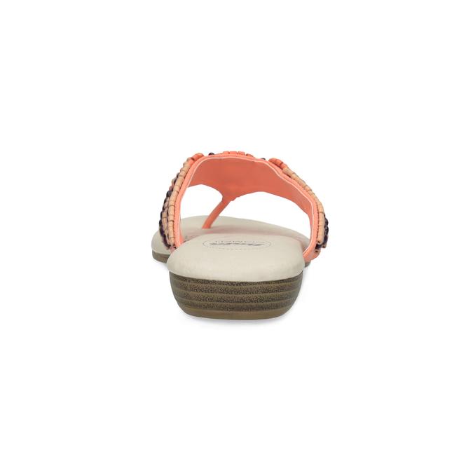 Dámské žabky s korálky lososové comfit, růžová, 561-5611 - 15