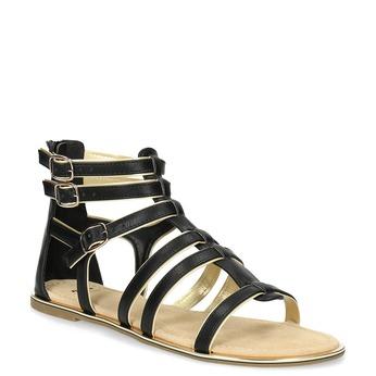 Dámské černo-zlaté sandály bata, černá, 561-6620 - 13